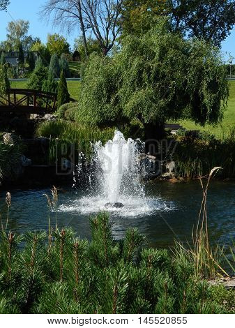 Waterfall in the garden and water fountains
