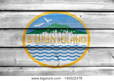 Flag Of Staten Island, New York, Usa, Painted On Old Wood Plank Background