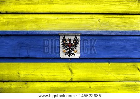 Flag Of Trento With Coat Of Arms, Italy, Painted On Old Wood Plank Background