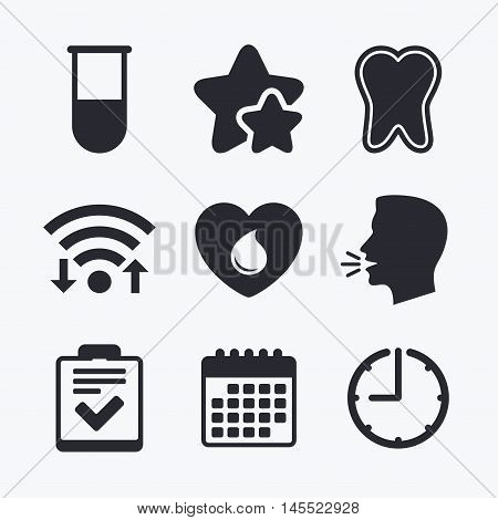 Medical icons. Tooth, test tube, blood donation and checklist signs. Laboratory equipment symbol. Dental care. Wifi internet, favorite stars, calendar and clock. Talking head. Vector