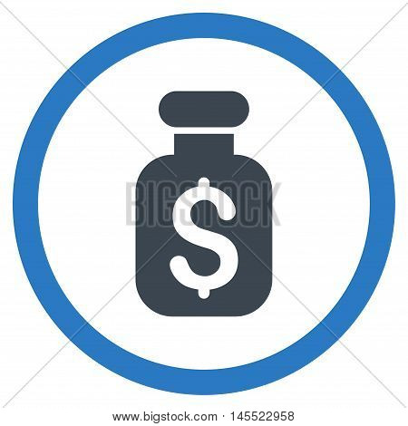 Business Remedy vector bicolor rounded icon. Image style is a flat icon symbol inside a circle, smooth blue colors, white background.