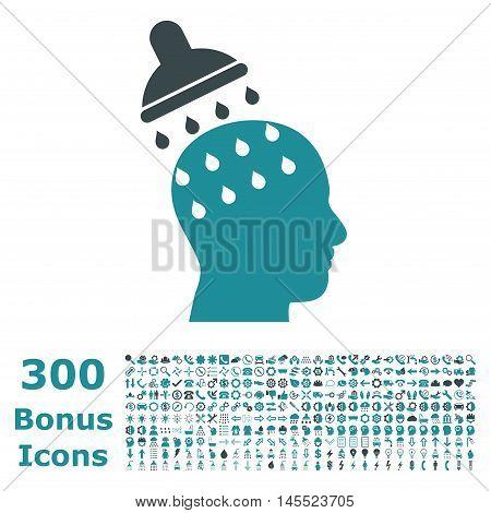 Brain Washing icon with 300 bonus icons. Glyph illustration style is flat iconic bicolor symbols, soft blue colors, white background.
