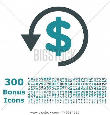 Chargeback icon with 300 bonus icons. Glyph illustration style is flat iconic bicolor symbols, soft blue colors, white background.