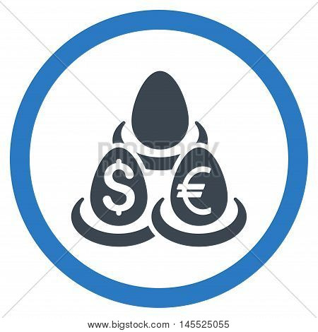 Currency Deposit Diversification vector bicolor rounded icon. Image style is a flat icon symbol inside a circle, smooth blue colors, white background.