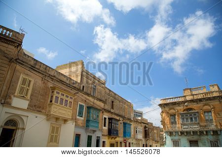 Historic Architecture in Ir-Rabat / Rabat in Malta southern Europe.