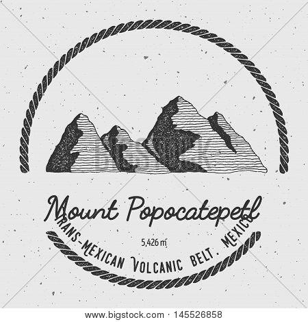 Popocatepetl In Trans-mexican Volcanic Belt, Mexico Outdoor Adventure Logo. Round Trekking Vector In