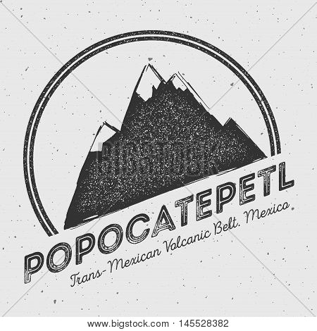 Popocatepetl In Trans-mexican Volcanic Belt, Mexico Outdoor Adventure Logo. Round Mountain Vector In