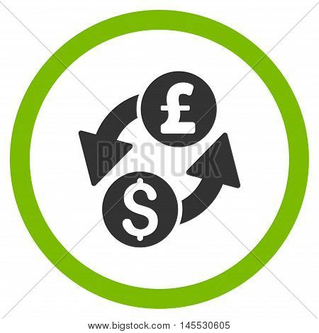 Dollar Pound Exchange vector bicolor rounded icon. Image style is a flat icon symbol inside a circle, eco green and gray colors, white background.