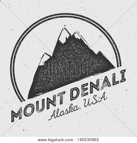 Denali In Alaska, Usa Outdoor Adventure Logo. Round Mountain Vector Insignia. Climbing, Trekking, Hi