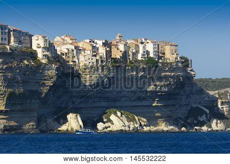 Bonifacio city seen from the sea Corsica
