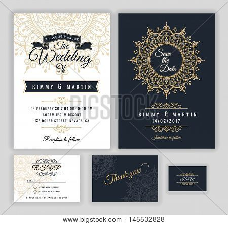 Vintage wedding invitation Mehndi mandala design sets include Invitation card Save the date RSVP card Thank you card. Vector illustration. print ready.