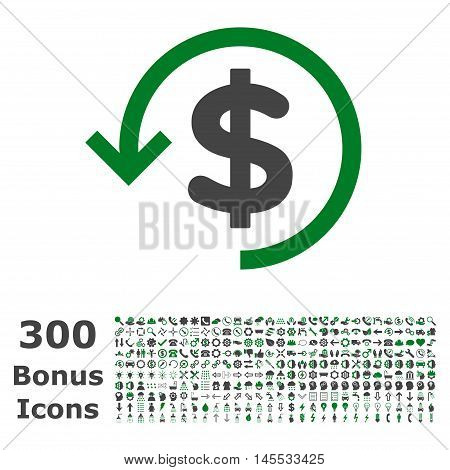 Refund icon with 300 bonus icons. Glyph illustration style is flat iconic bicolor symbols, green and gray colors, white background.