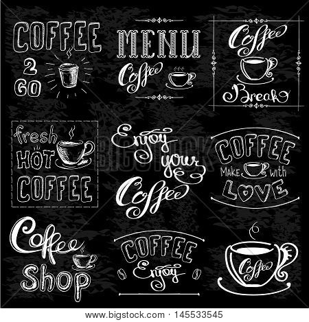 Set Of Coffee Labels On Chalkboard . Coffee decoration collection .Set of calligraphic and typographic elements styled design frames vintage labels. Vector illustration
