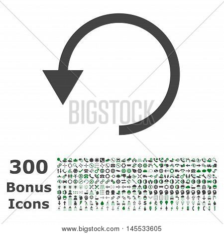 Rotate Ccw icon with 300 bonus icons. Glyph illustration style is flat iconic bicolor symbols, green and gray colors, white background.