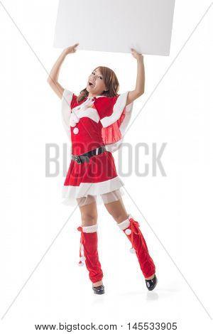Asian Christmas girl holding a blank board, full length portrait.