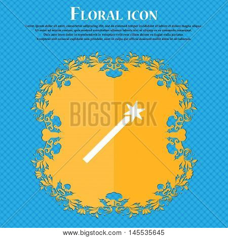 Magic Wand Icon Icon. Floral Flat Design On A Blue Abstract Background With Place For Your Text. Vec