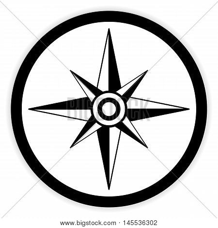 Compass button on white background. Vector illustration.