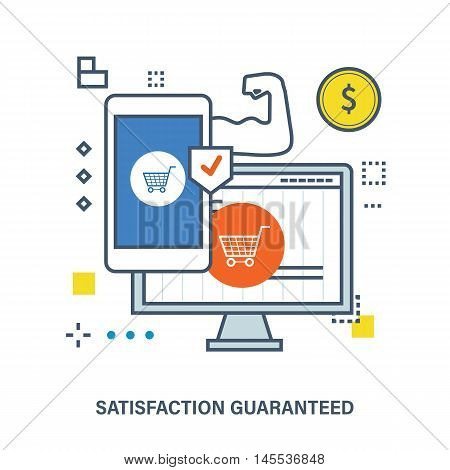 Concept of secure transaction and transaction protection. Color Line icons. Flat Vector illustration