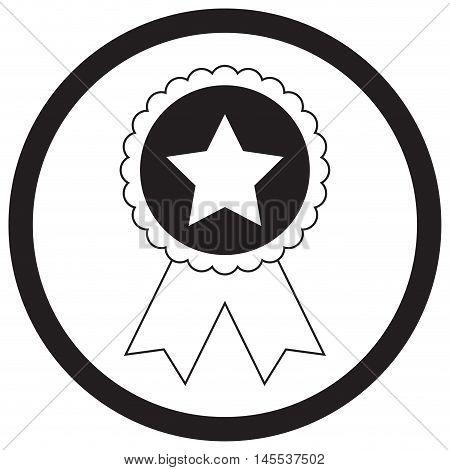 Badge star monochrome. Star with ribbon star sticker employee of the month winner badge. Vector illustration