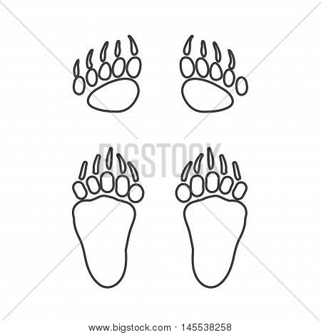 Vector cartoon bear footprint. Bear steps. Isolated line icon for logo web site design app UI. Animal steps for posters greeting cards book cover flyers banner web game designs.