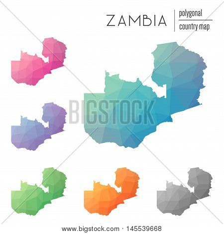 Set Of Vector Polygonal Zambia Maps. Bright Gradient Map Of Country In Low Poly Style. Multicolored