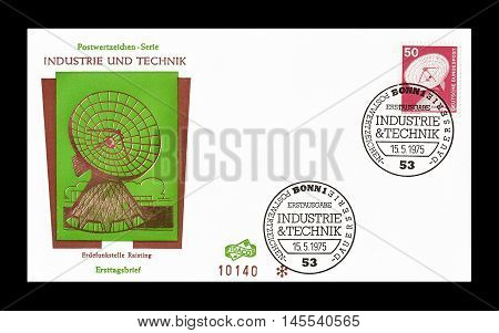 GERMANY - CIRCA 1975 : Cancelled First Day Cover letter printed by Germany, that shows Antenna.