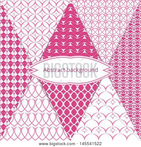 Pastel abstract texture. Set endless patterns in gentle tones. Simple graphic background. Vector illustration.