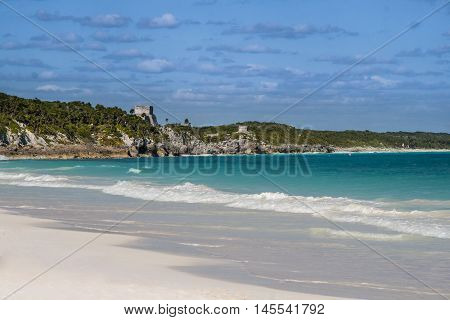 View of Tulum ruins, mayan architecture and the caribbean sea.