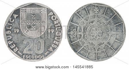 Coin Portuguese 20 Escudo isolated on white background - set