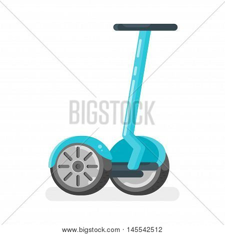 Vector flat style illustration of two-wheeled battery-powered electric vehicle on white background. Modern ecological transport.