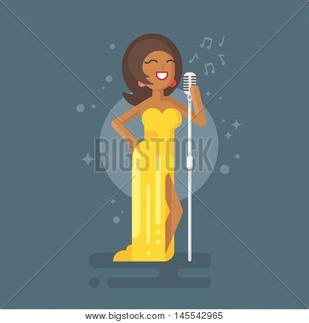 Vector flat style illustration of Afro American woman star celebrity jazz singer in yellow dress with vintage microphone.