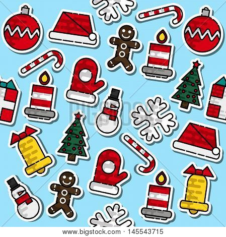 Pattern with colored Christmas elements. Holiday. Vector illustration EPS 10