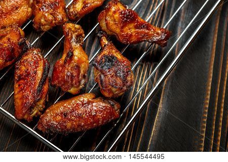 homemade wings chicken Legs on the grill