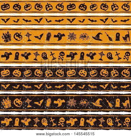 Halloween border design with jack o lantern bat ghost grave and spider