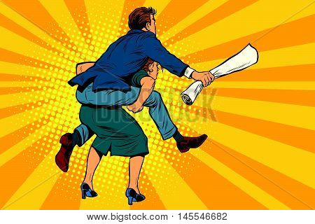 Business people back man riding on woman, attack, pop art retro comic drawing illustration. Gender inequality. Career men and women