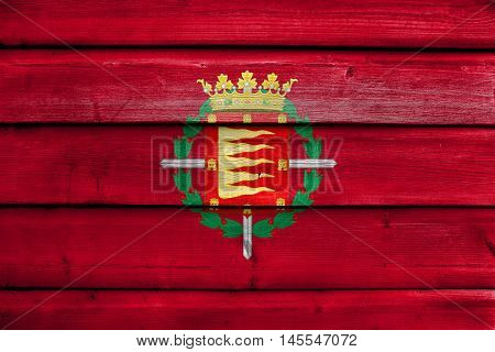 Flag Of Valladolid, Spain, Painted On Old Wood Plank Background
