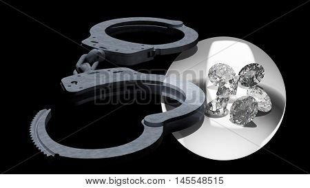 Handcuffs and diamonds symbolizing vice in love affairs 3d rendering