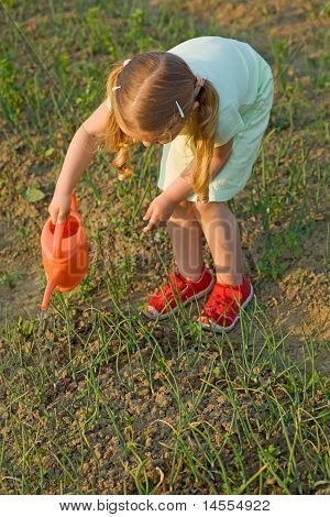 Growing Food - Little Girl Watering The Onion Seedlings