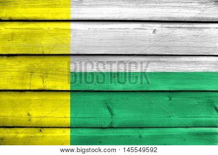Flag Of Zielona Gora, Poland, Painted On Old Wood Plank Background