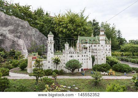 GUNZBURG GERMANY - AUG 18 2016: Neuschwanstein Castle Miniature at the Legoland Deutschland theme park in Gunzburg Germany