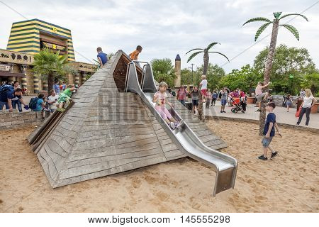 GUNZBURG GERMANY - AUG 18 2016: Egypt themed playground at the Legoland Deutschland in Guenzburg Baden Wurtemberg Germany