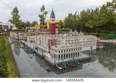 GUNZBURG GERMANY - AUG 18 2016: Mini Venice at the Legoland Deutschland theme park in Gunzburg Germany