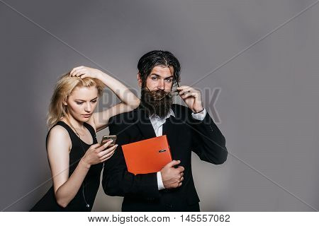 Serious Man And Woman