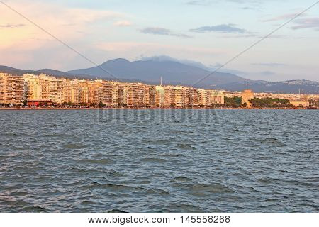 Thessaloniki in Greece - sunset in the city