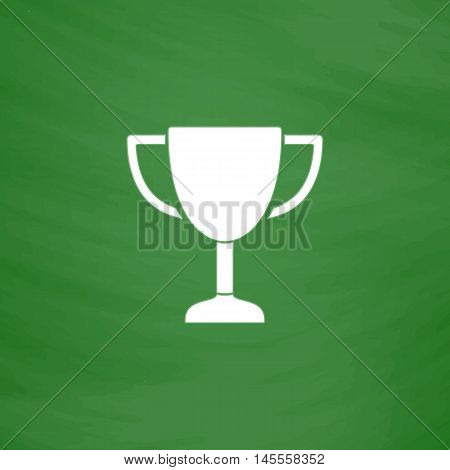 Trophy Simple vector button. Imitation draw icon with white chalk on blackboard. Flat Pictogram