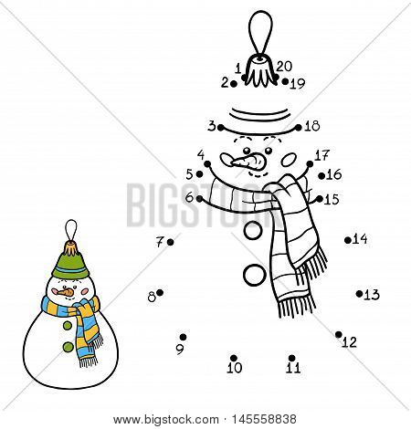 Numbers Game For Children. Christmas Toys, Snowman