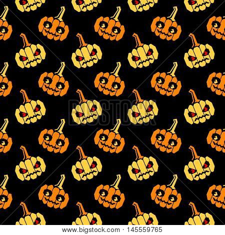 Seamless halloween pattern with orange and yellow pumpkins with geometrical shape, slightly slanted