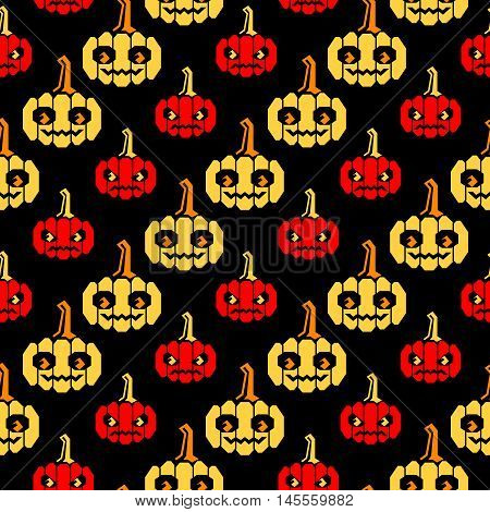 Seamless halloween pattern with red and yellow pumpkins with geometrical shape, forms slanted lines