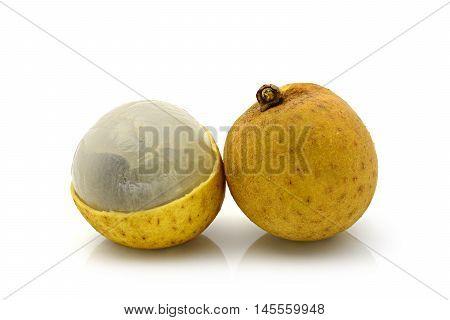 Longan fruit on white background (Dimocarpus longan)