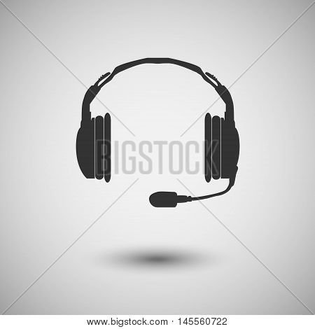 Headphones icon isolated with shadow, vector file